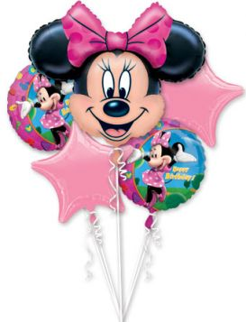 Happy Birthday Minnie Mouse Balloon Bouquet 5pc