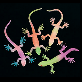 Vinyl Glow-in-the-Dark Neon Painted Lizards (1doz)