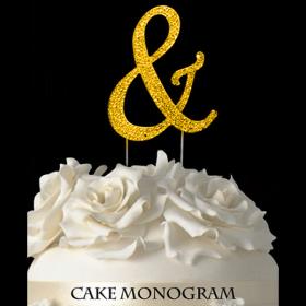 Gold Monogram Cake Topper - &