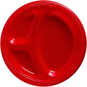 Apple Red  Plastic Divided Dinner Plates 20ct