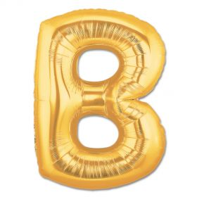 "34"" Inch Letter B Gold Giant Foil Balloon Uninflated"