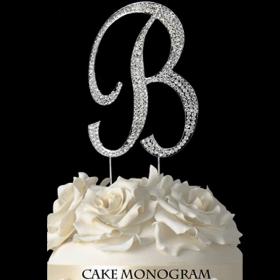 Silver Monogram Cake Topper - B