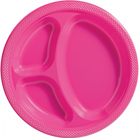 Bright Pink  Plastic Divided Dinner Plates 20ct