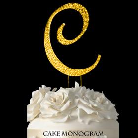 Gold Monogram Cake Topper - C