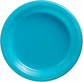 Carribbean Blue Plastic Dinner Plates 20ct