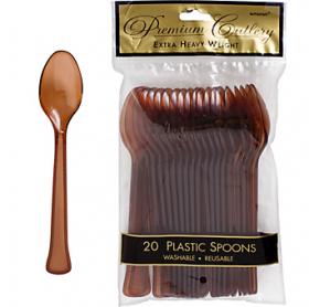 Chocolate Brown  Premium Quality Plastic Spoons 20ct