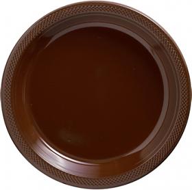 Chocolate Brown Plastic Dinner Plates 20ct