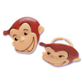 Curious George Cupcake Rings  6pcs