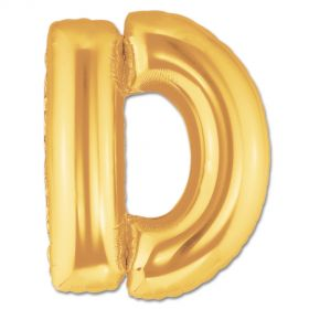 "34"" Inch Letter D Gold Giant Foil Balloon Uninflated"