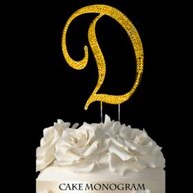 Gold Monogram Cake Topper - D
