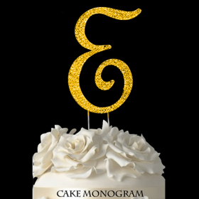 Gold Monogram Cake Topper - E
