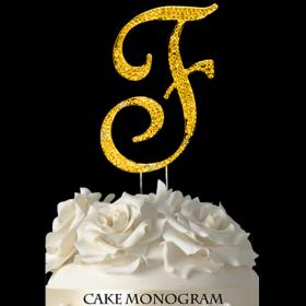 Gold Monogram Cake Topper - F