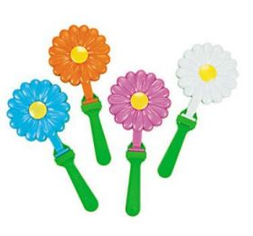 Plastic Daisy-Shaped Hand Clappers 1 dz