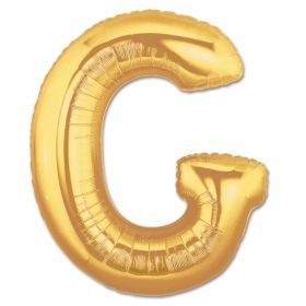 "34"" Inch Letter G Gold Giant Foil Balloon Uninflated"