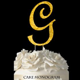 Gold Monogram Cake Topper - G