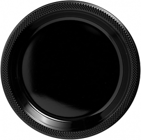 Jet Black Plastic Dinner Plates 20ct