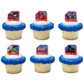Justice League Cupcake Rings 6pcs