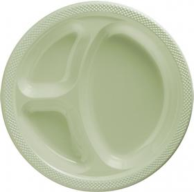 Leaf Green  Plastic Divided Dinner Plates 20ct