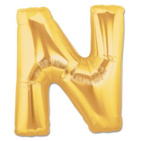 "34"" Inch Letter N Gold Giant Foil Balloon Uninflated"