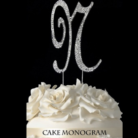 Silver Monogram Cake Topper - N