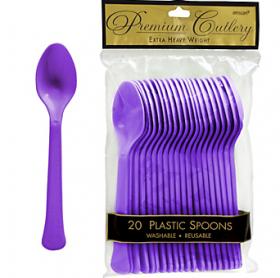 New Purple  Premium Quality Plastic Spoons 20ct