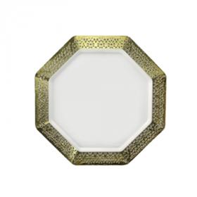 "Lacetagon - 7.25"" Pearl Plate - Gold Rim - 10 Count"