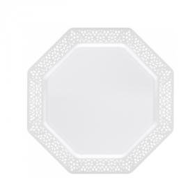 """Lacetagon - 9.25"""" Plastic White Plate -  Pearl White Rim - 10 Count"""
