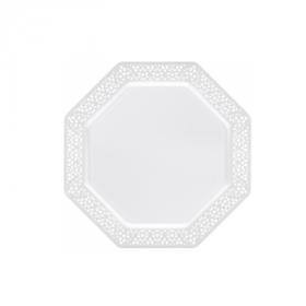"""Lacetagon - 7.5"""" Plastic White Plate -  Pearl White Rim - 10 Count"""