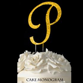 Gold Monogram Cake Topper - P