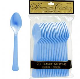 Pastel Blue  Premium Quality Plastic Spoons 20ct