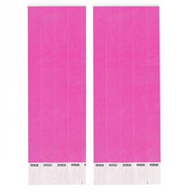 Neon Pink Paper Wristbands 500ct