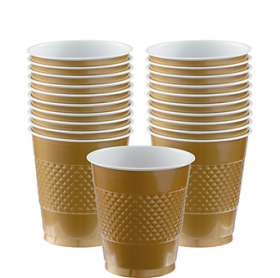 12oz Gold Plastic Cups 20ct