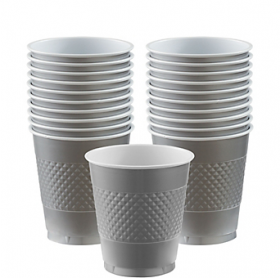 12oz Silver Plastic Cups 20ct