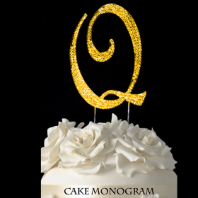 Gold Monogram Cake Topper - Q