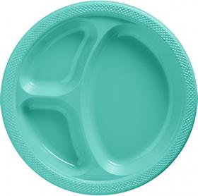 Robin's Egg Blue  Plastic Divided Dinner Plates 20ct