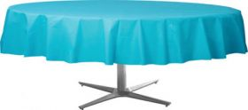 Carribbean Blue Round Plastic Table Cover