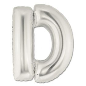 """34"""" Inch Letter D Silver Giant Foil Balloon Uninflated"""