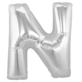 """34"""" Inch Letter N Silver Giant Foil Balloon Uninflated"""