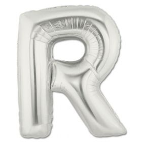 """34"""" Inch Letter R Silver Giant Foil Balloon Uninflated"""
