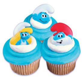 Smurfs Cupcake Rings 6pcs