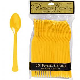 Yellow Sunshine Premium Quality Plastic Spoons 20ct