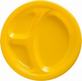 Yellow Sunshine  Plastic Divided Dinner Plates 20ct