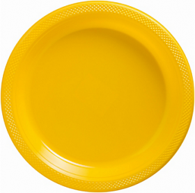 Yellow Sunshine Plastic Dinner Plates 20ct