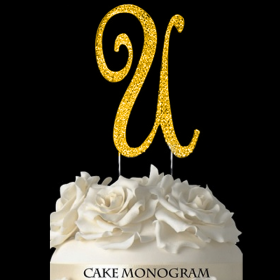 Gold Monogram Cake Topper - U