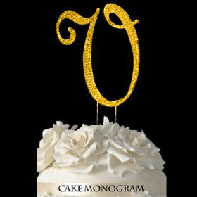 Gold Monogram Cake Topper - V