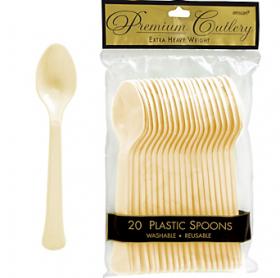 Vanilla Crème  Premium Quality Plastic Spoons 20ct