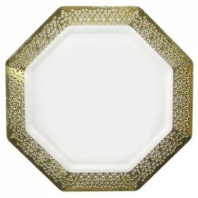 "Lacetagon - 11"" Pearl Plate - Gold Rim - 10 Count"