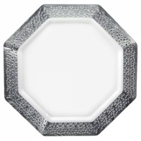 "Lacetagon - 11"" Pearl Plate - Silver Rim - 10 Count"