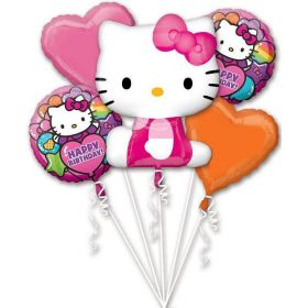 Hello Kitty Rainbow Happy Birthday Foil Balloon Bouquet (5 piece)