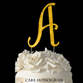 Gold Monogram Cake Topper - A